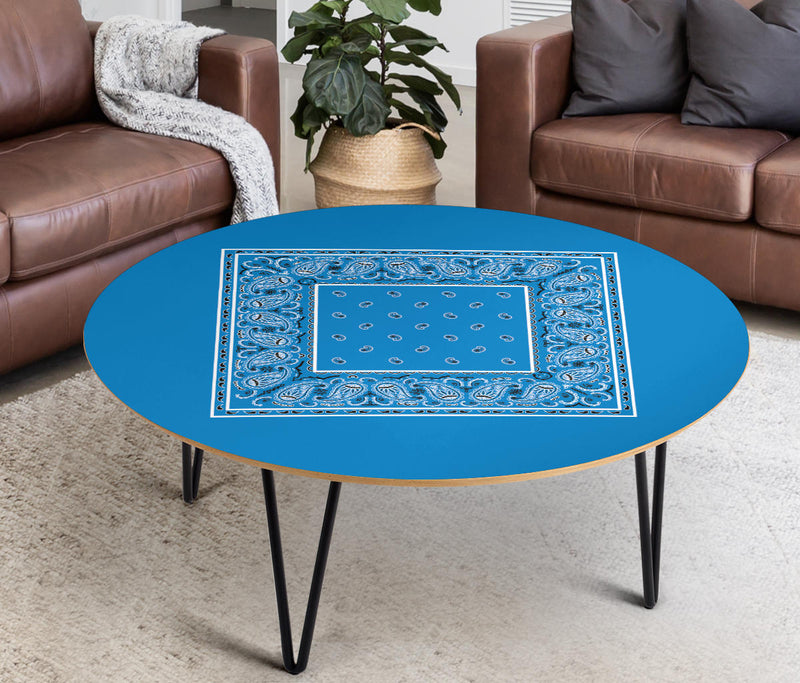 Sky Blue Bandana Round Coffee Table