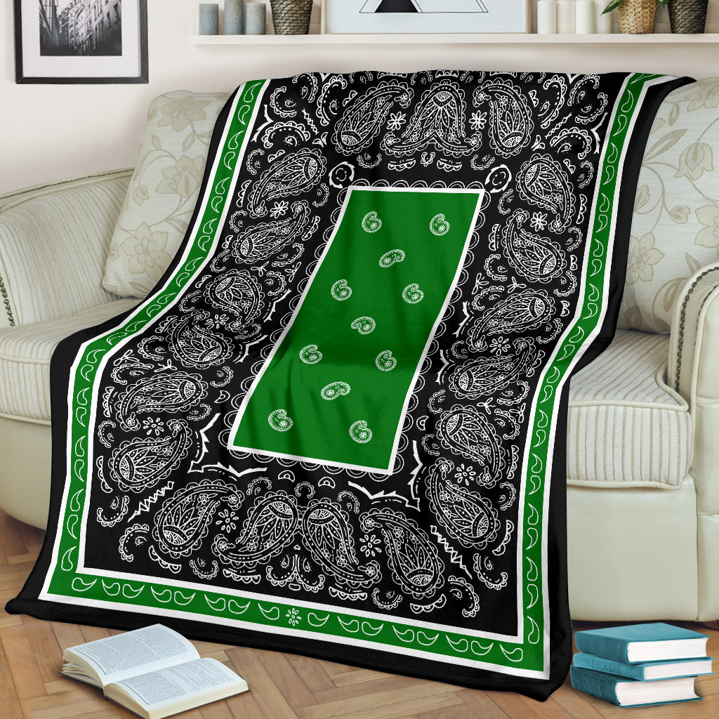 Green and Black Bandana Fleece Throw Blanket