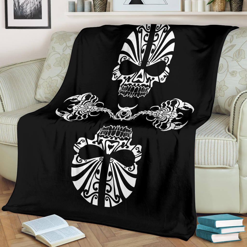 Skulls and Scorpions Tribal Tattoo Blanket