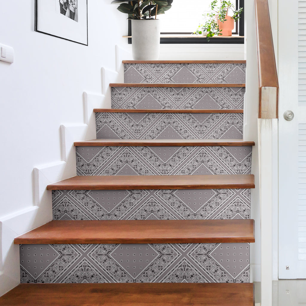 Classic Gray Bandana Stair Stickers 6 Steps