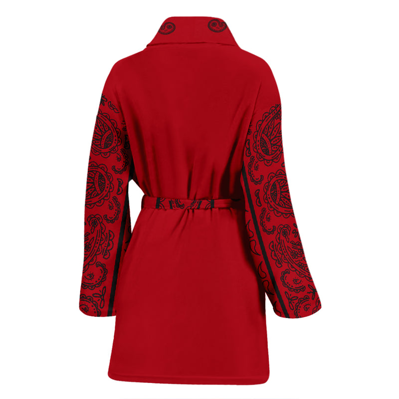 Red and Black Bandana Women's Bathrobe