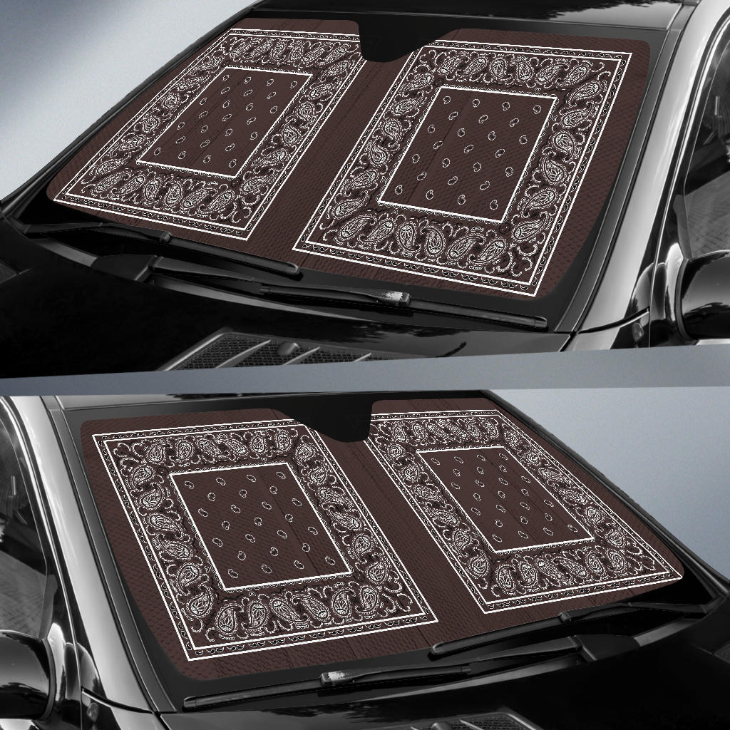 Coffee Brown Bandana Car Window Shade