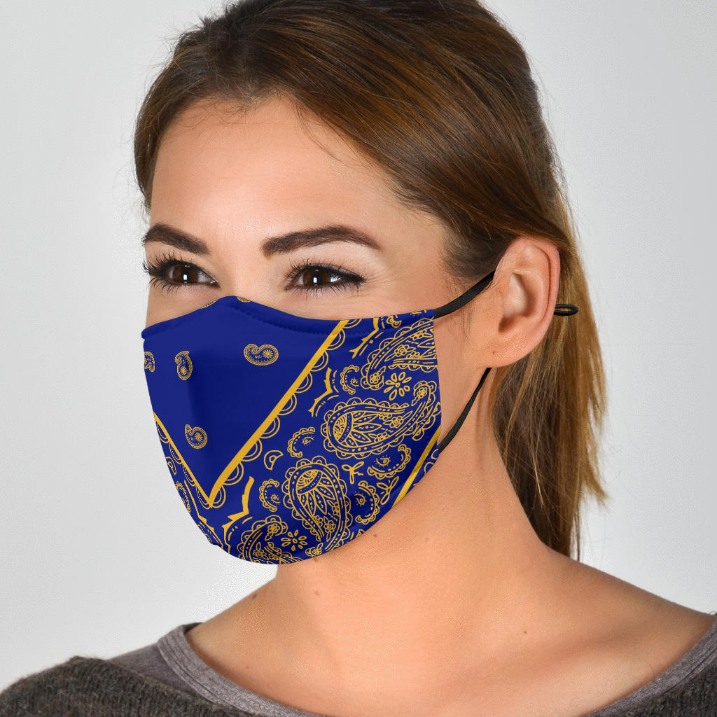 blue and gold bandana covid masks