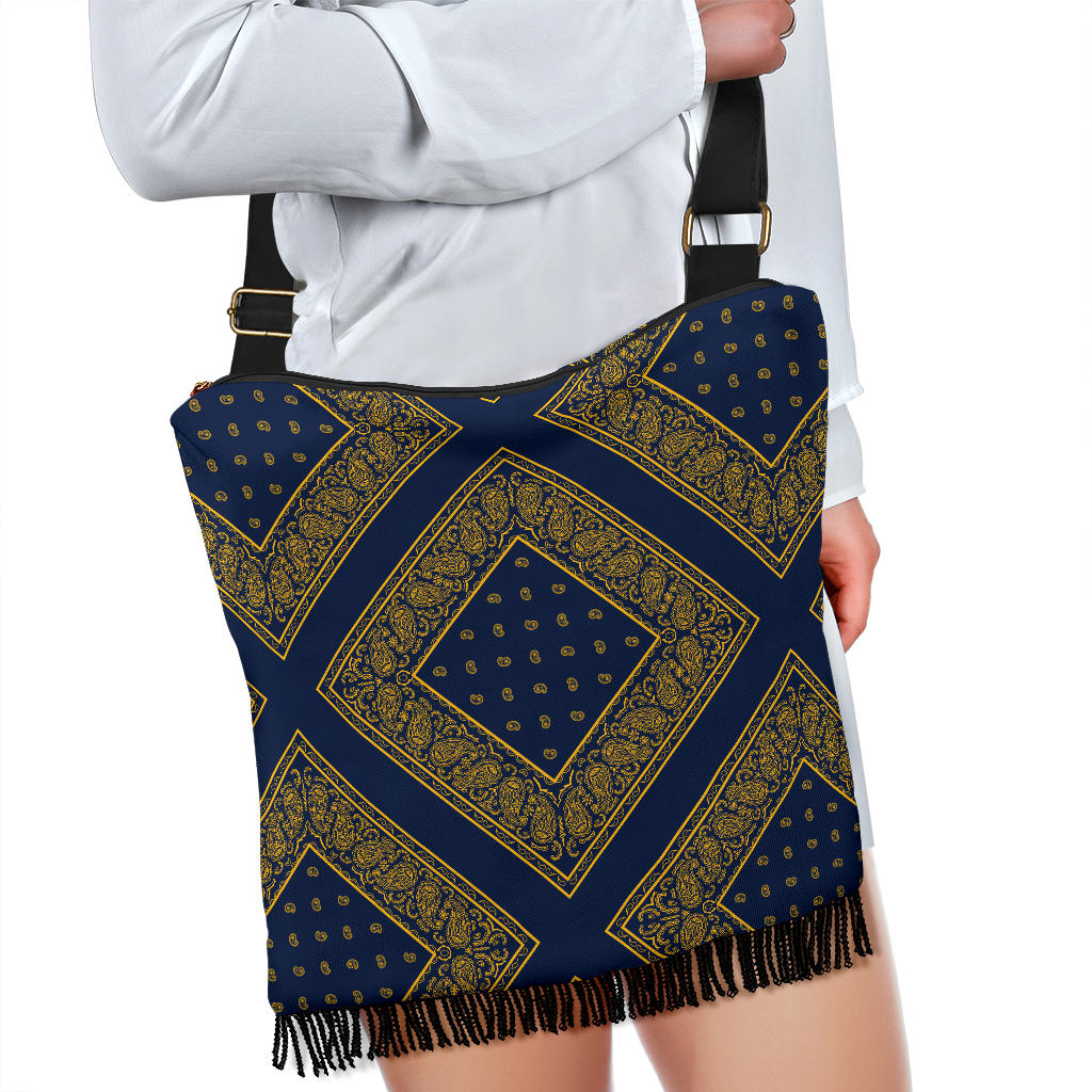 Navy Blue and Gold Bandana Crossbody Boho Bag