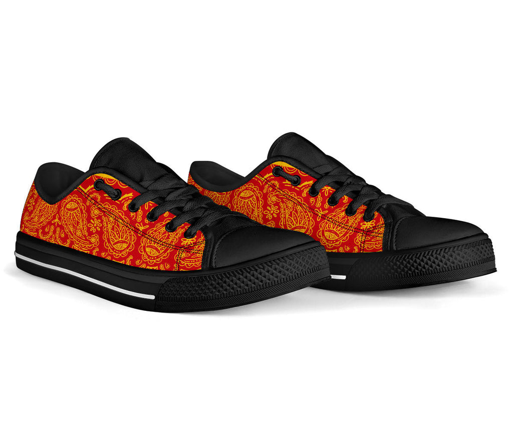 Red and Gold Bandana Low Top Sneakers