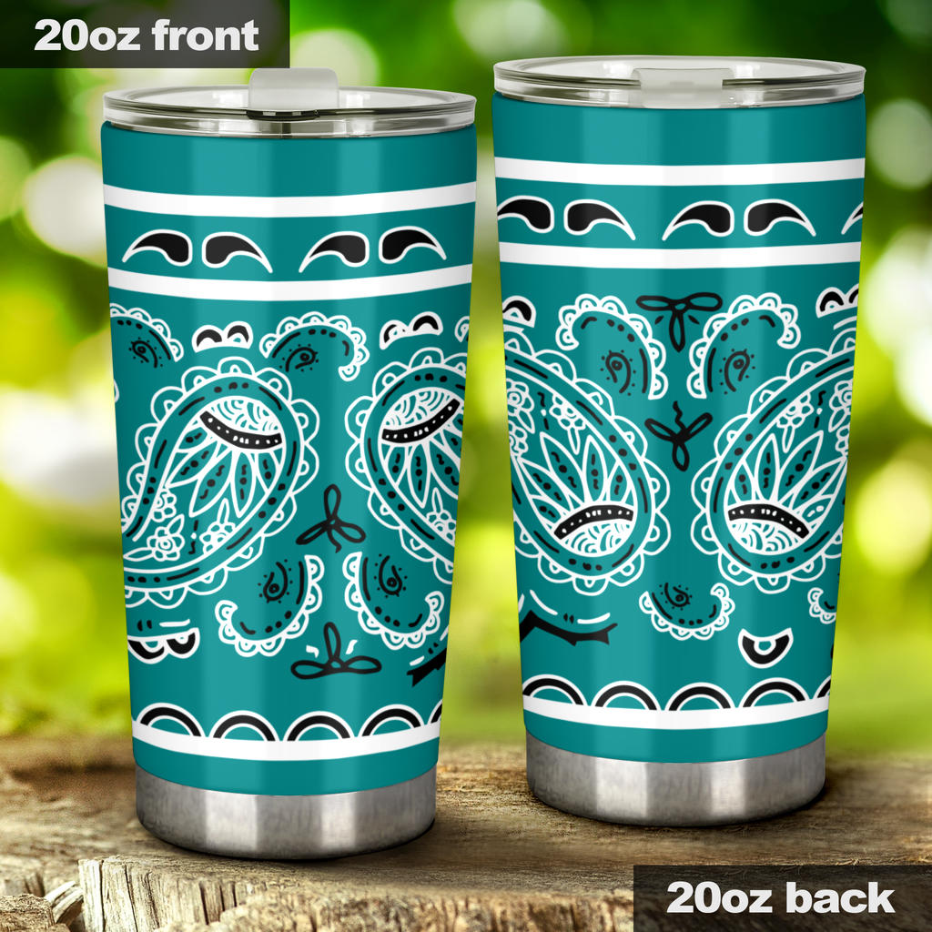 teal bandana insulated tumbler cups