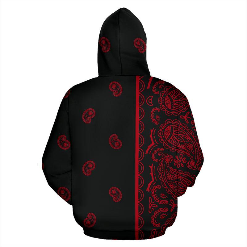 red and black bandana pullover hoodie back view