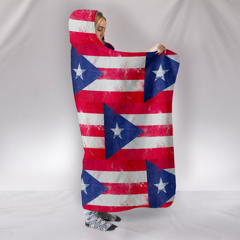Ultimate Puerto Rico Flag Tiled Hooded Blanket