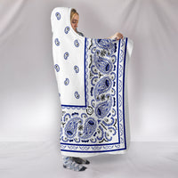 White with Blue Bandana Hooded Blanket side