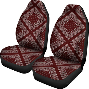 Burgundy and white seat cover