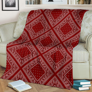 Ultra Plush Maroon Bandana Diamond Throw Blanket