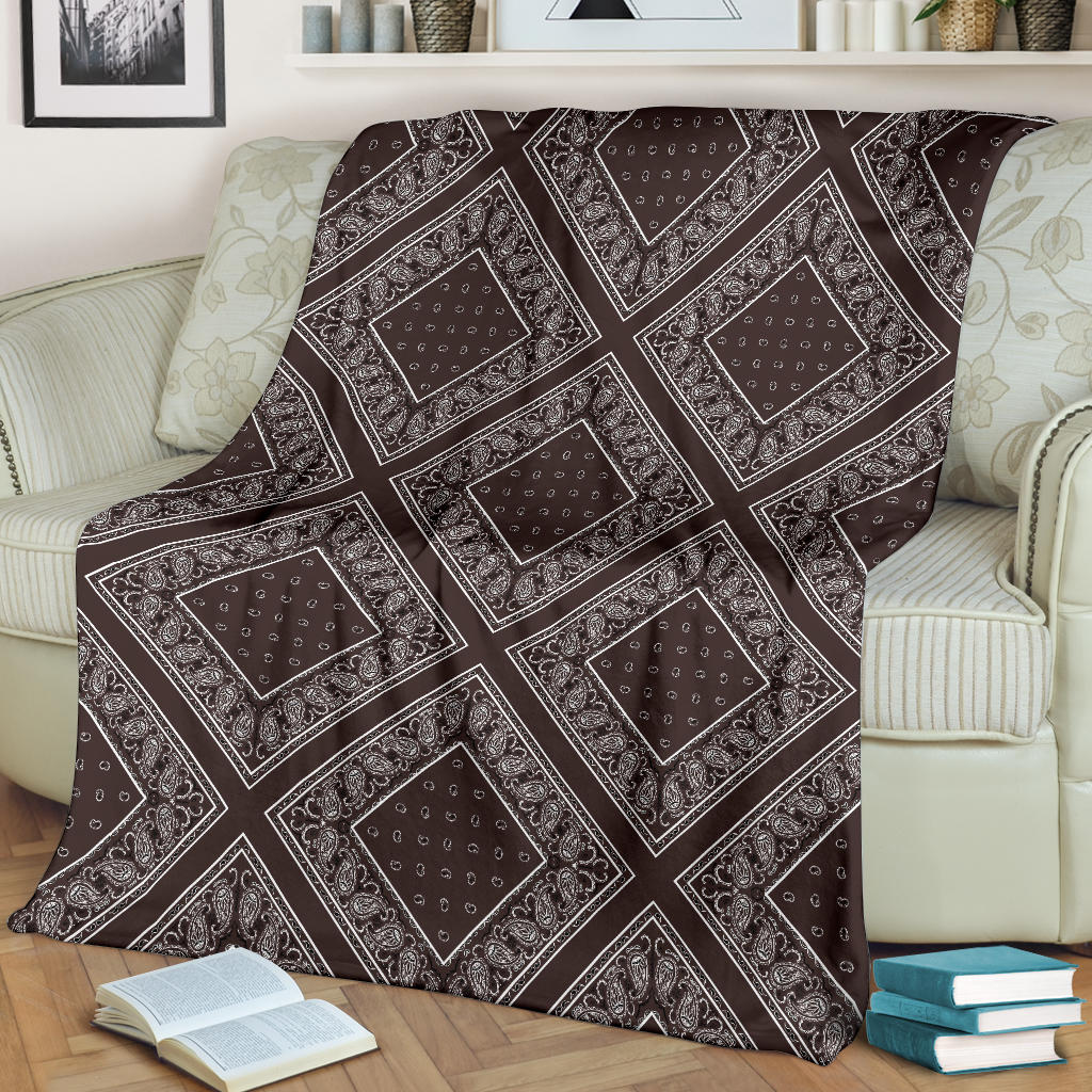 Ultra Plush Coffee Brown Bandana Diamond Throw Blanket