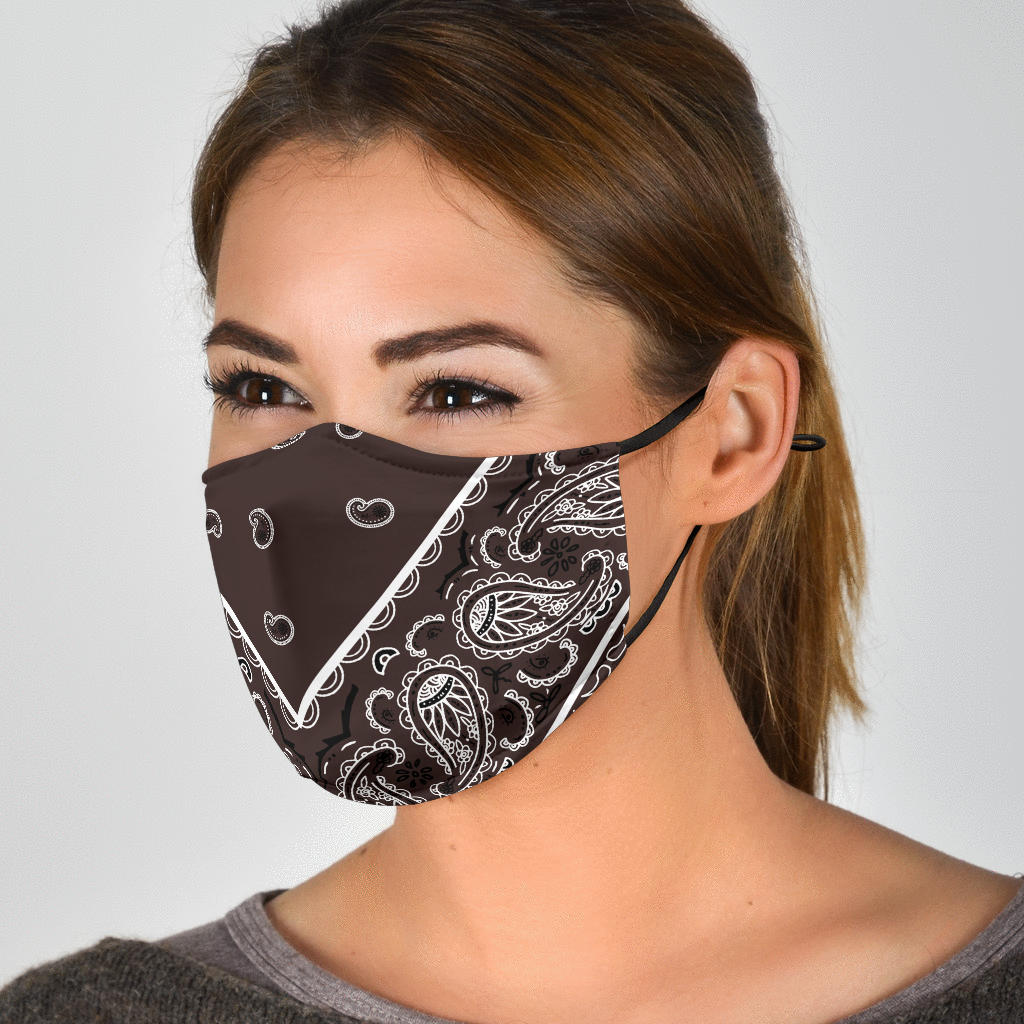 Adjustable Coffee Brown Bandana Face Mask with 5 Layer Filters