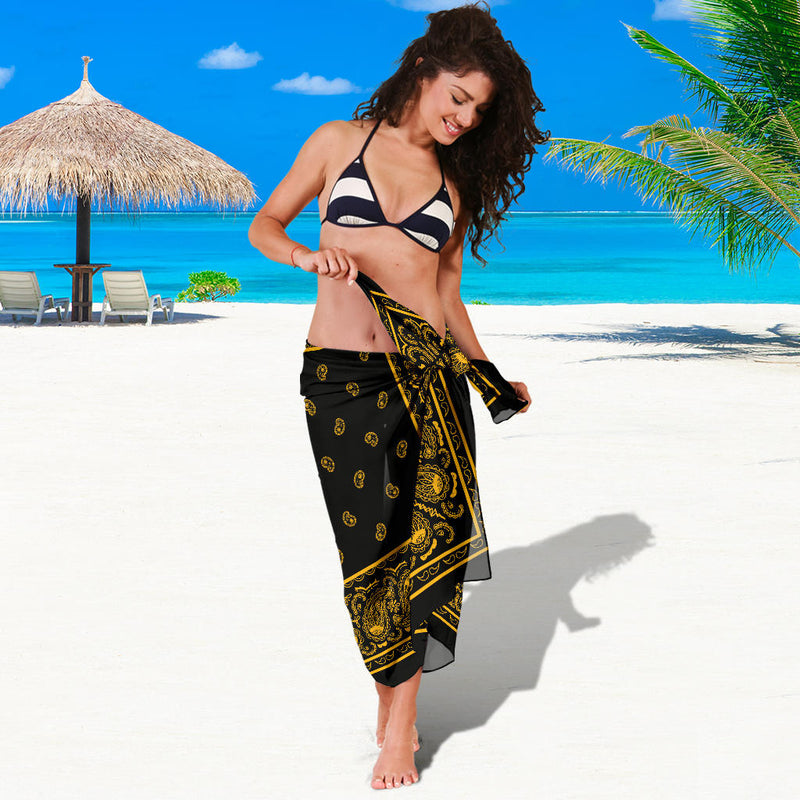 Black Gold Bandana Beach Coverup