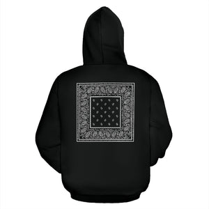 black bandana zip hoodie back view