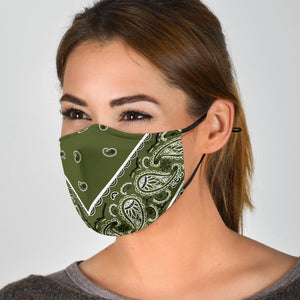 Adjustable Army Green Bandana Face Mask with 5 Layer Filters