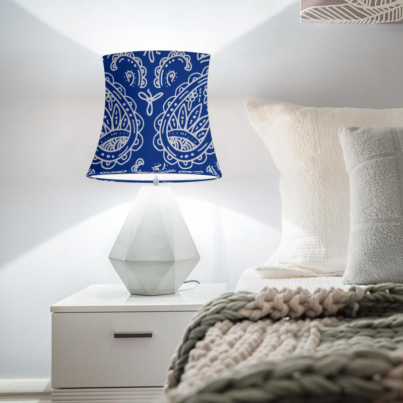 Blue and Gray Paisley Drum Lampshade