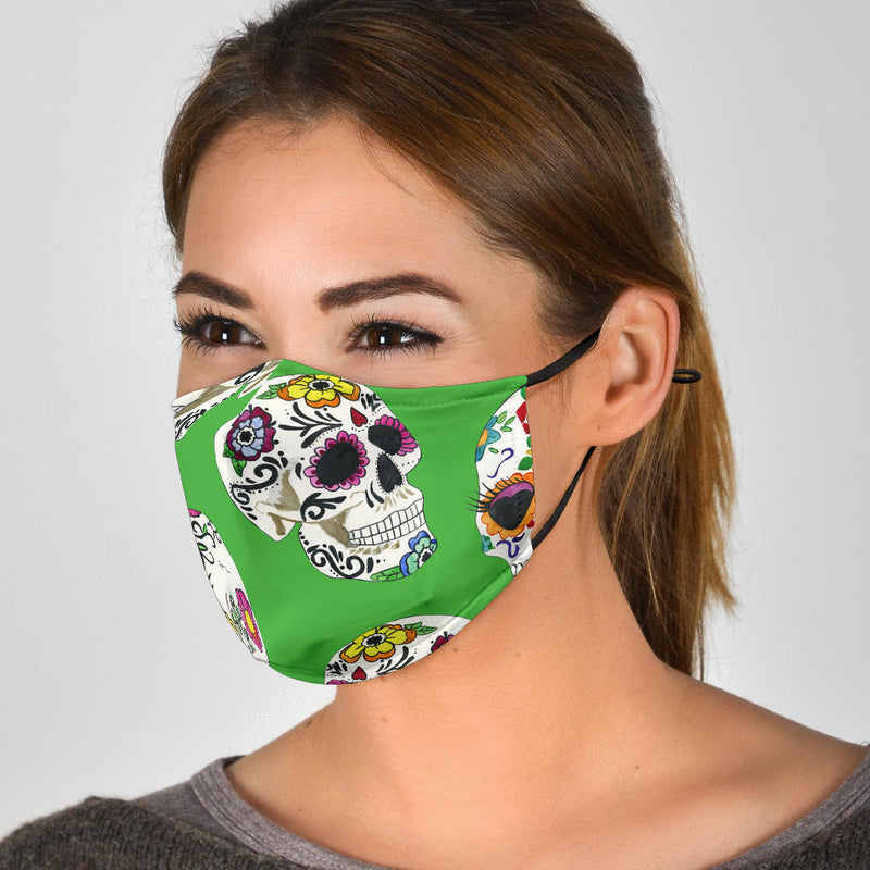 Whimsical Sugar Skull Face Masks - Yellow and Green