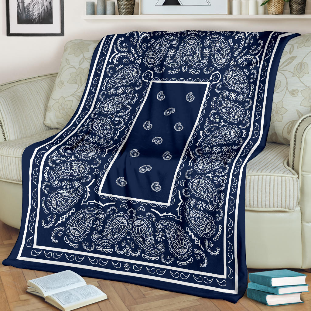 Navy and White Bandana Fleece Throw