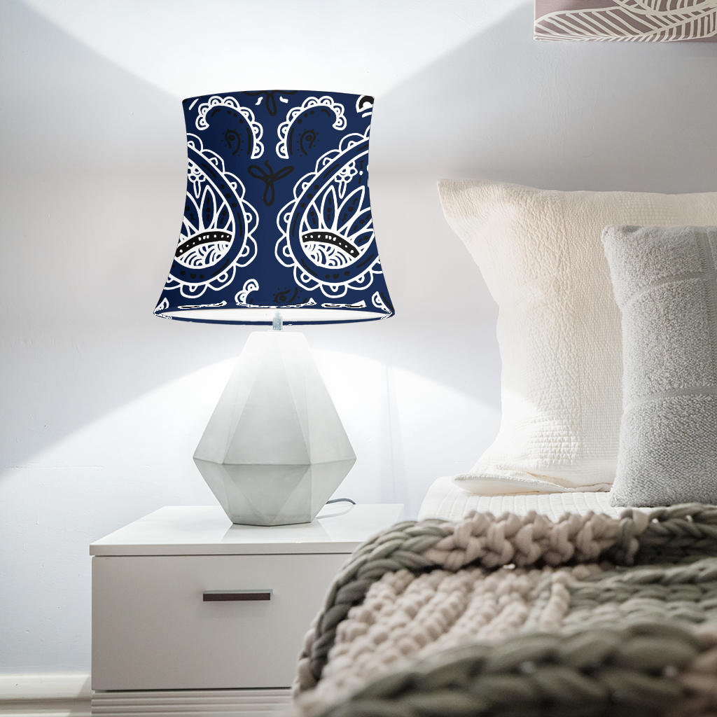 Navy Blue Paisley Drum Lampshades
