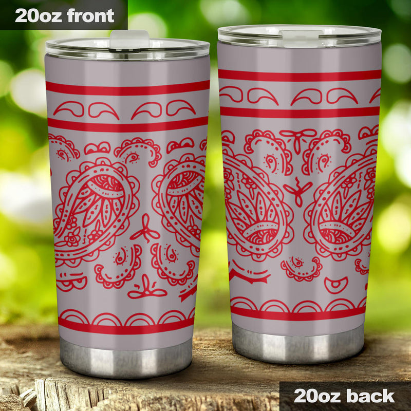 gray and red drink tumbler