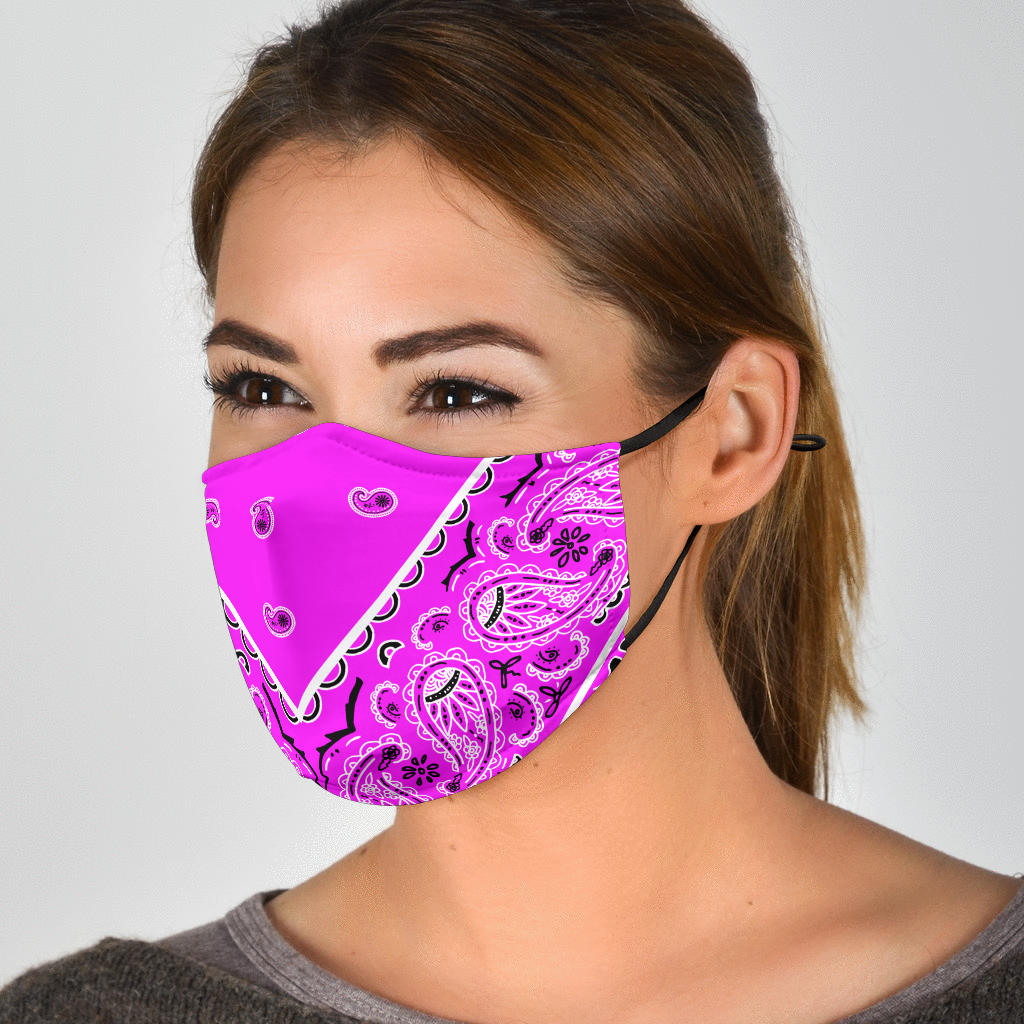 Adjustable Abruptly Pink Bandana Face Mask with 5 Layer Filters