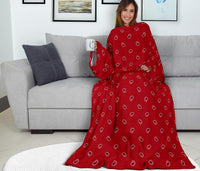 red paisley patterned sleeved blanket