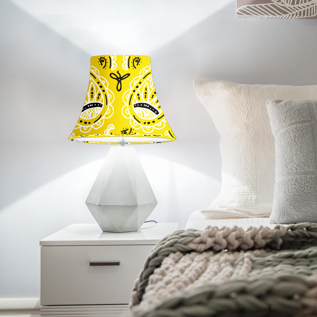 Yellow Paisley Bell Lampshade