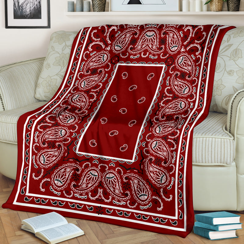 Maroon Bandana Fleece Throw Blanket