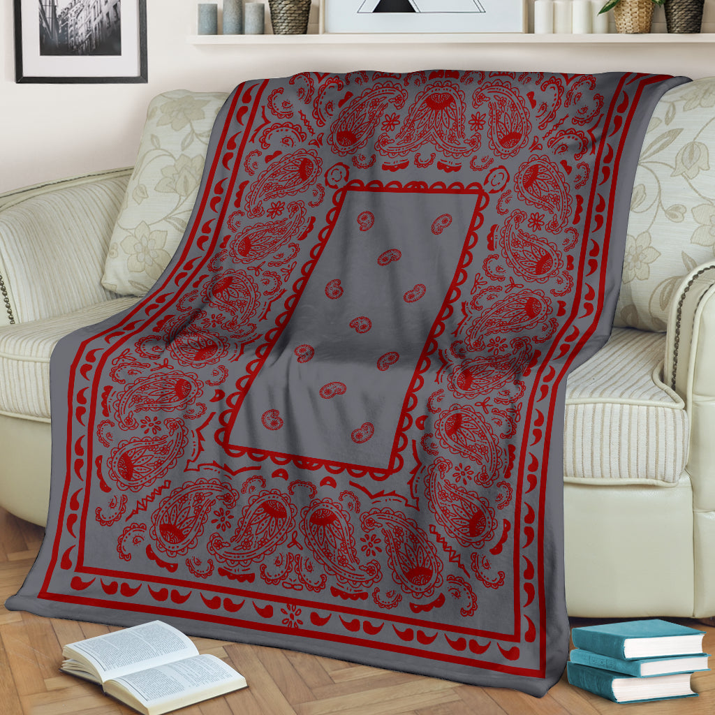 Gray with Red Bandana Throw Blanket
