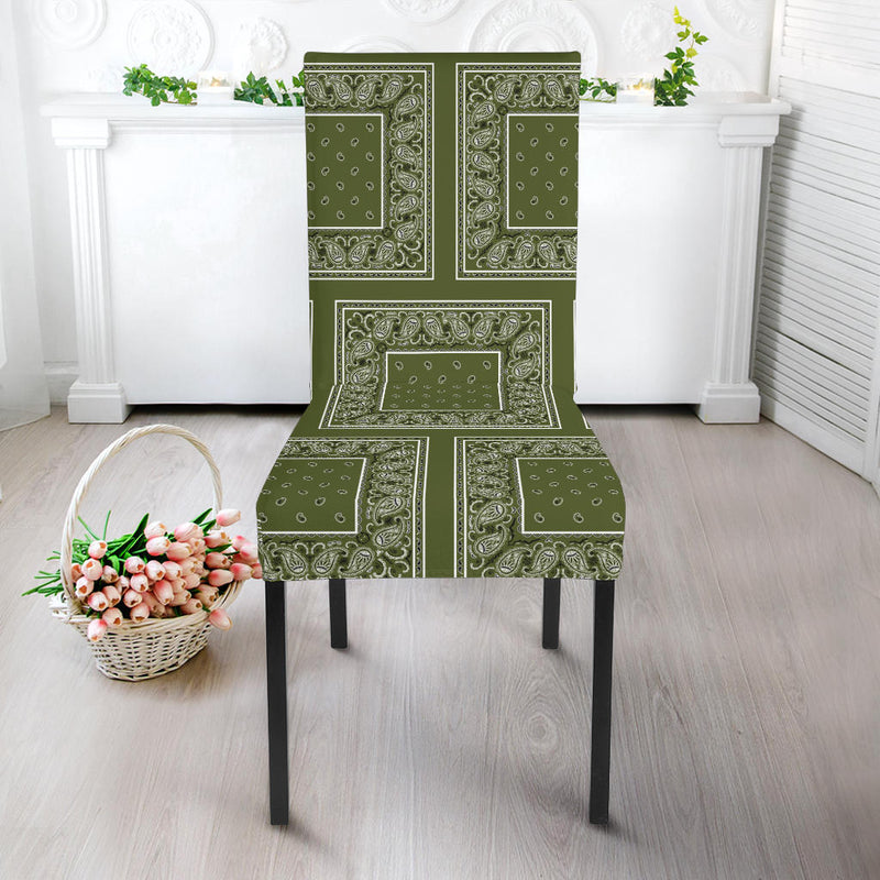 Army Green Bandana Dining Chair Furniture Cover