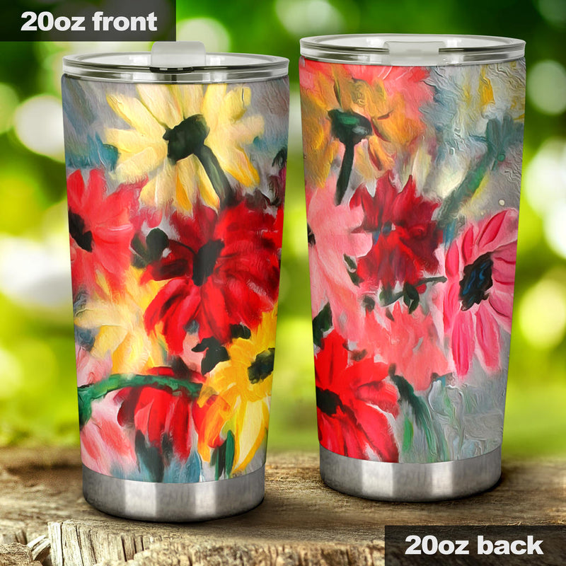 artistic floral insulated tumbler