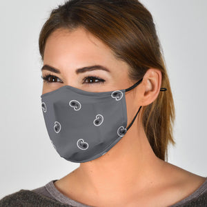Adjustable Classic Gray Paisley Face Mask with 5 Layer Filters
