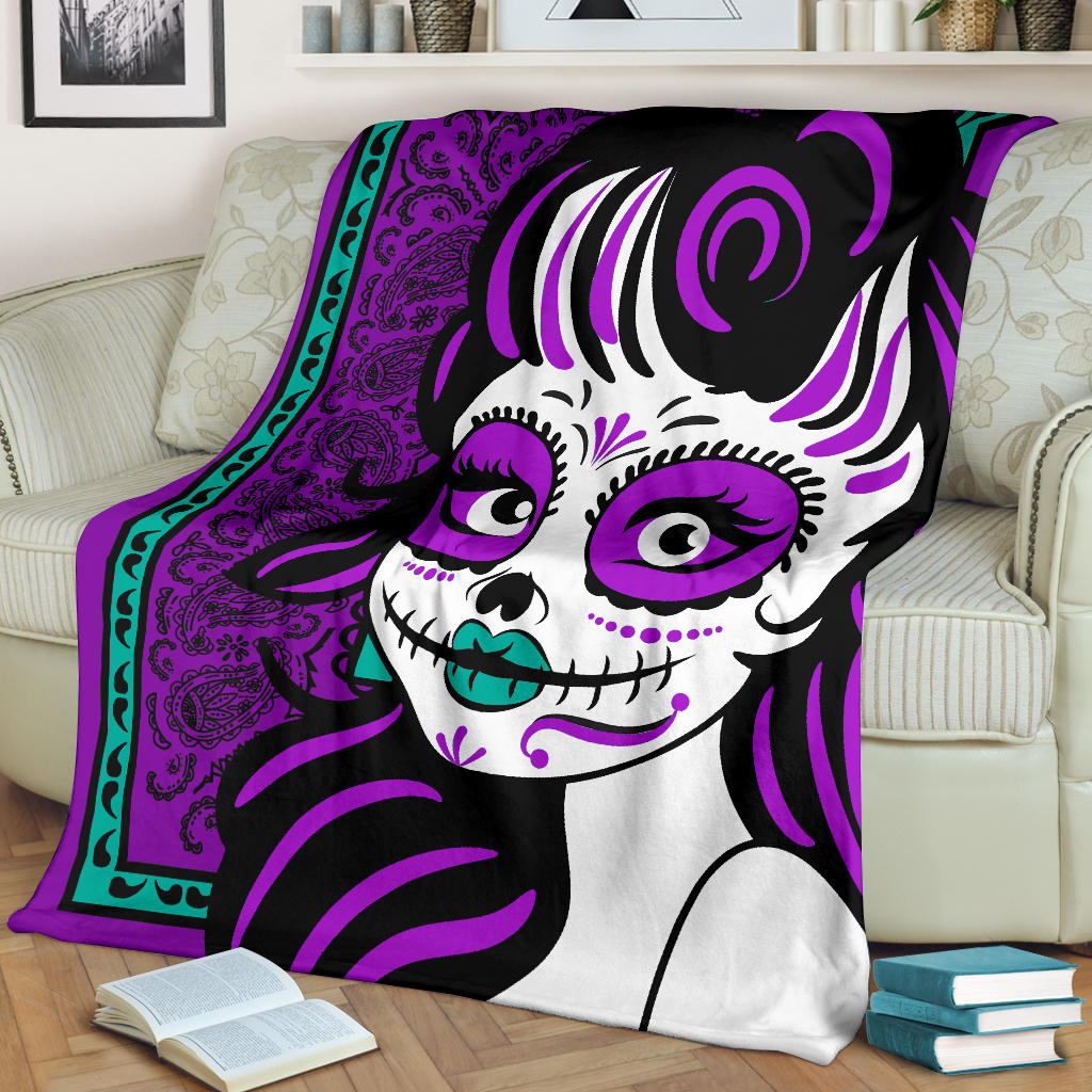 Ultra Plush Purple Bandana Calavera Fleece Blanket