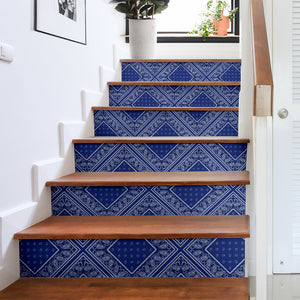 Royal Blue Bandana Stair Stickers 6 Steps