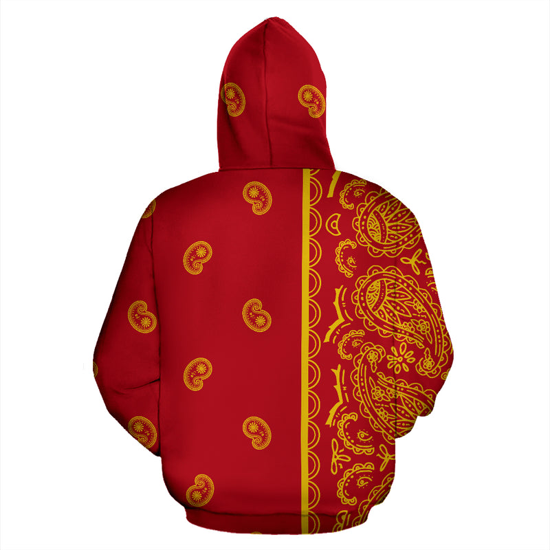 red and gold bandanas pullover hoodie back view