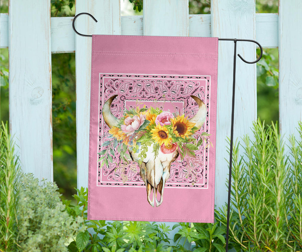 Pretty Pink Bandana Cow Skull Home and Garden Flags