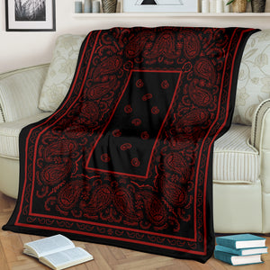 Black with Red Bandana Throw Blanket