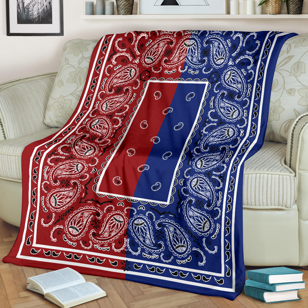 red and blue bandana throw blankets