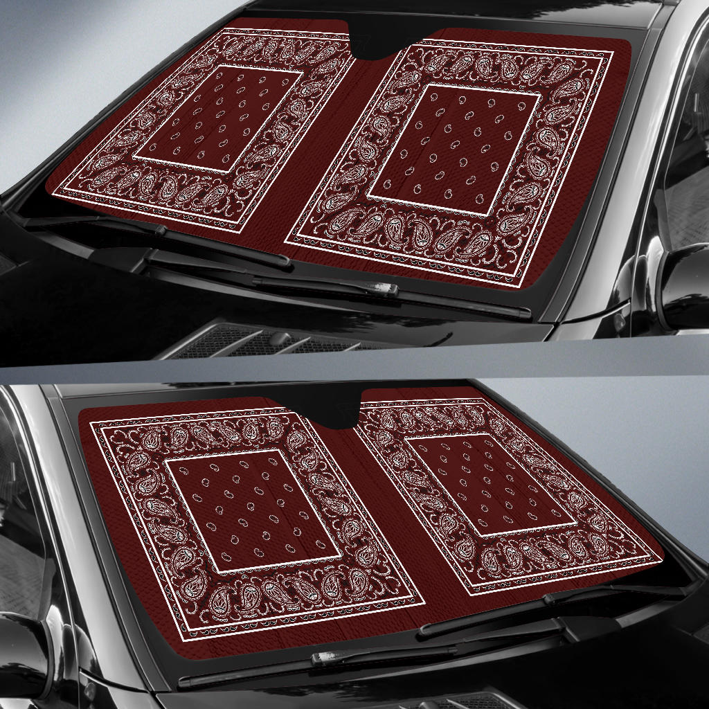 Burgundy Bandana Car Window Shade