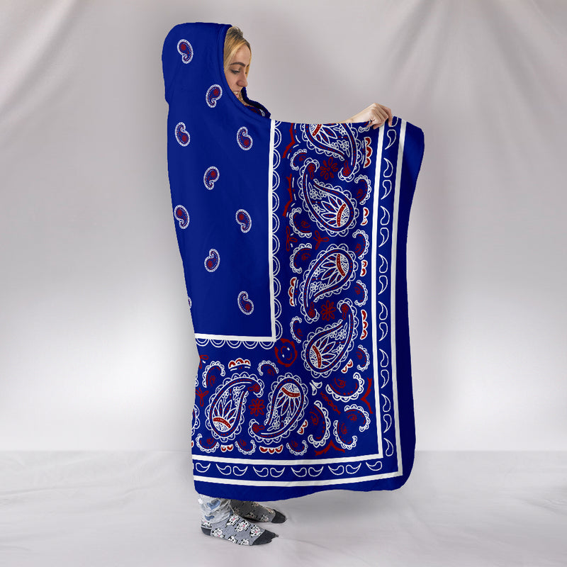 Blue Bandana Hooded Blanket side