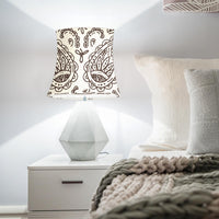 Cream and Brown Paisley Drum Lampshades