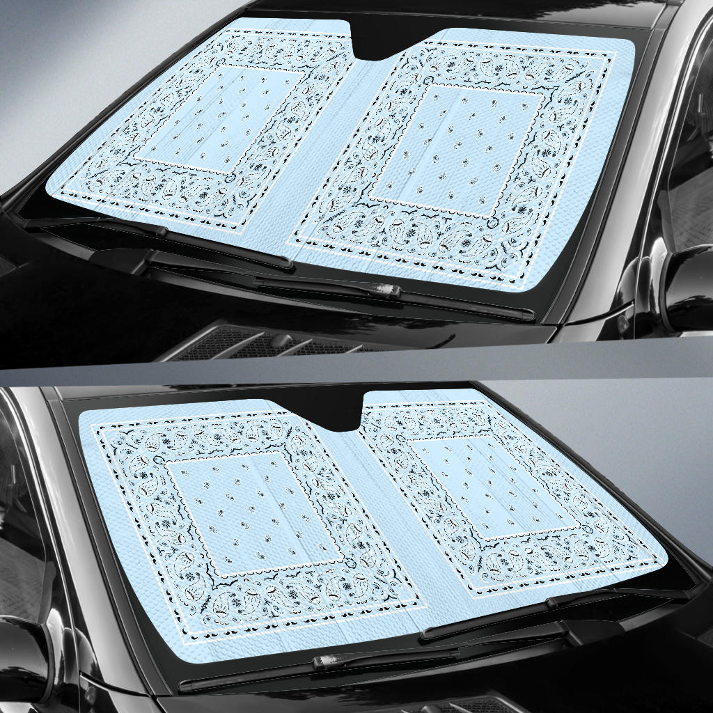 Light Blue Bandana Car Window Shade