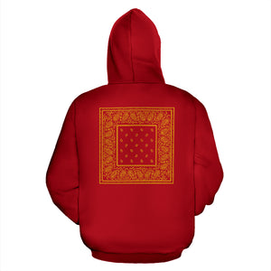 red gold bandana pullover hoodie back view