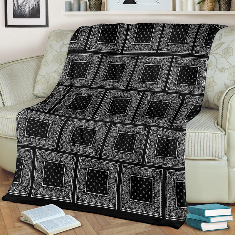 Ultra Plush Black Bandana Patch Throw Blanket