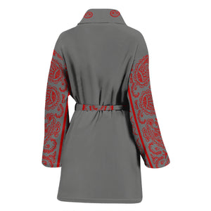 Gray and Red Bandana Women's Bathrobe