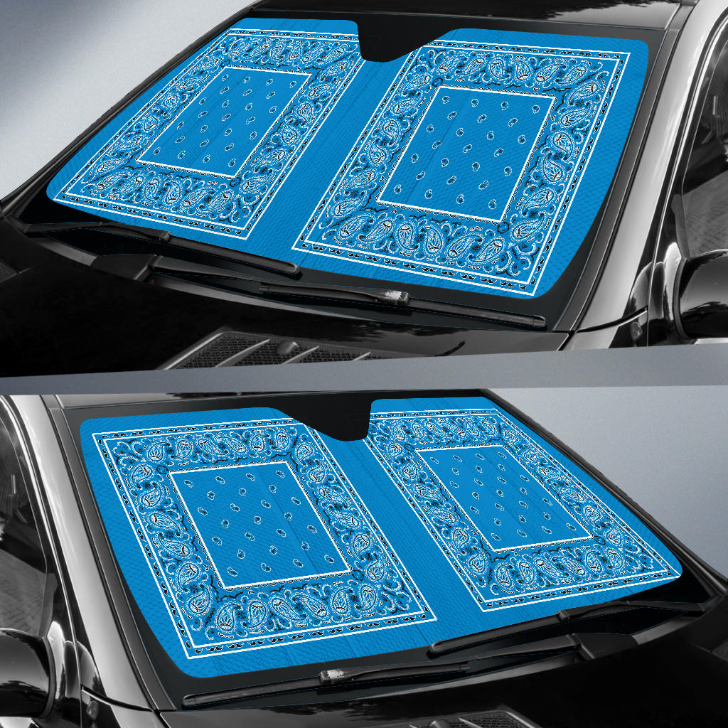 Sky Blue Bandana Car Window Shade