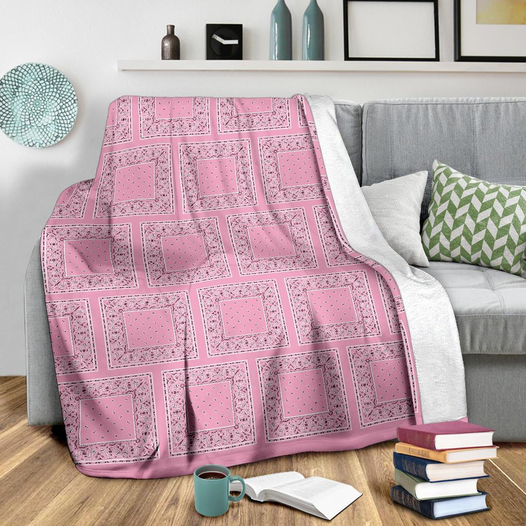 Pink Bandana Fleece Throw Blanket