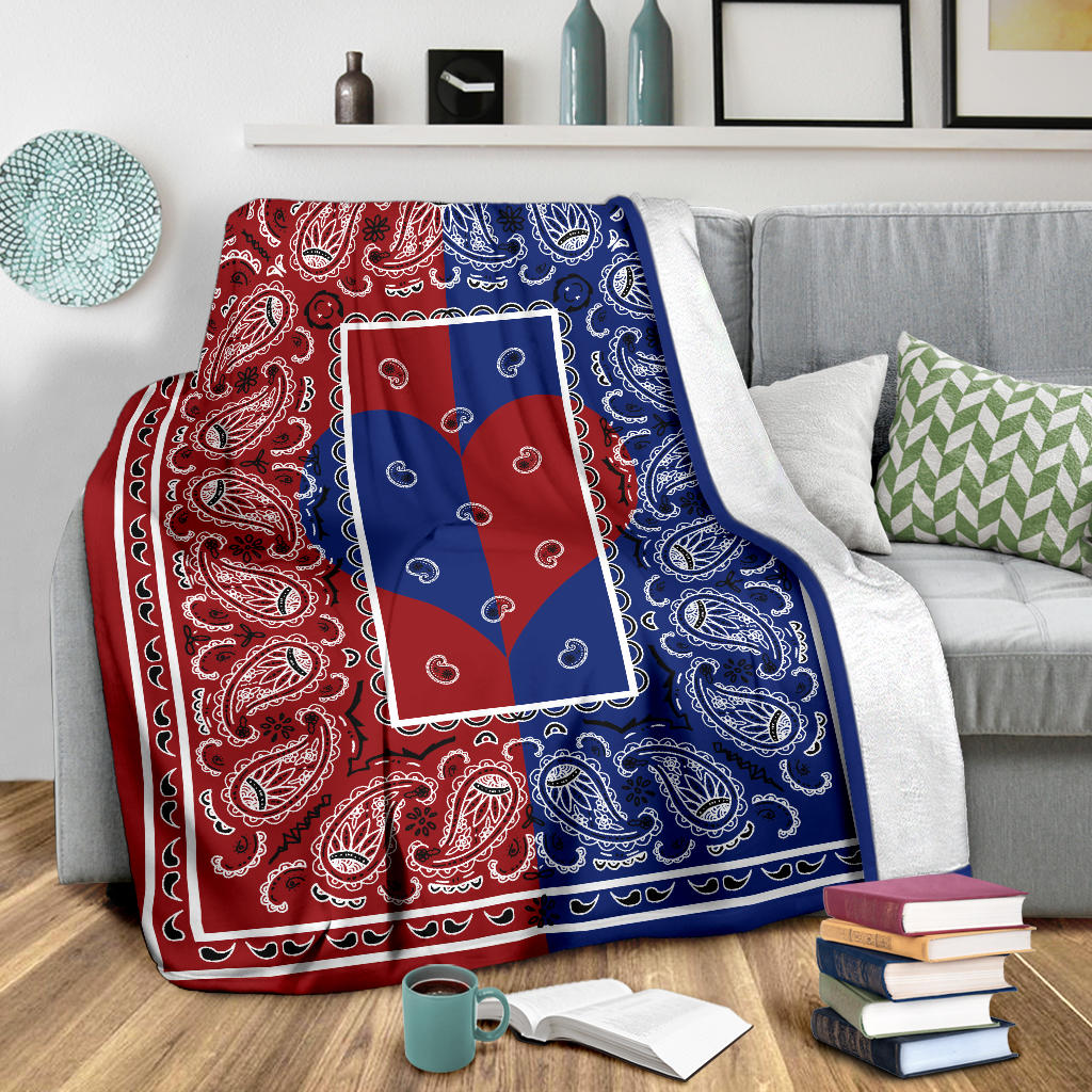 Red and blue bandana Love Throw Blanket