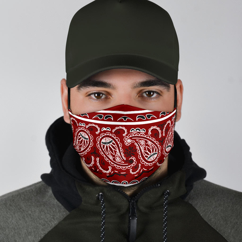 Edge Maroon Red Bandana Face Mask